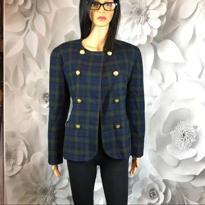 double breasted blazer Pendleton red blue check  8